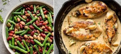Zdravi ručak: Kremasta piletina sa belim lukom i šarena salata sa tri vrste mahunarki
